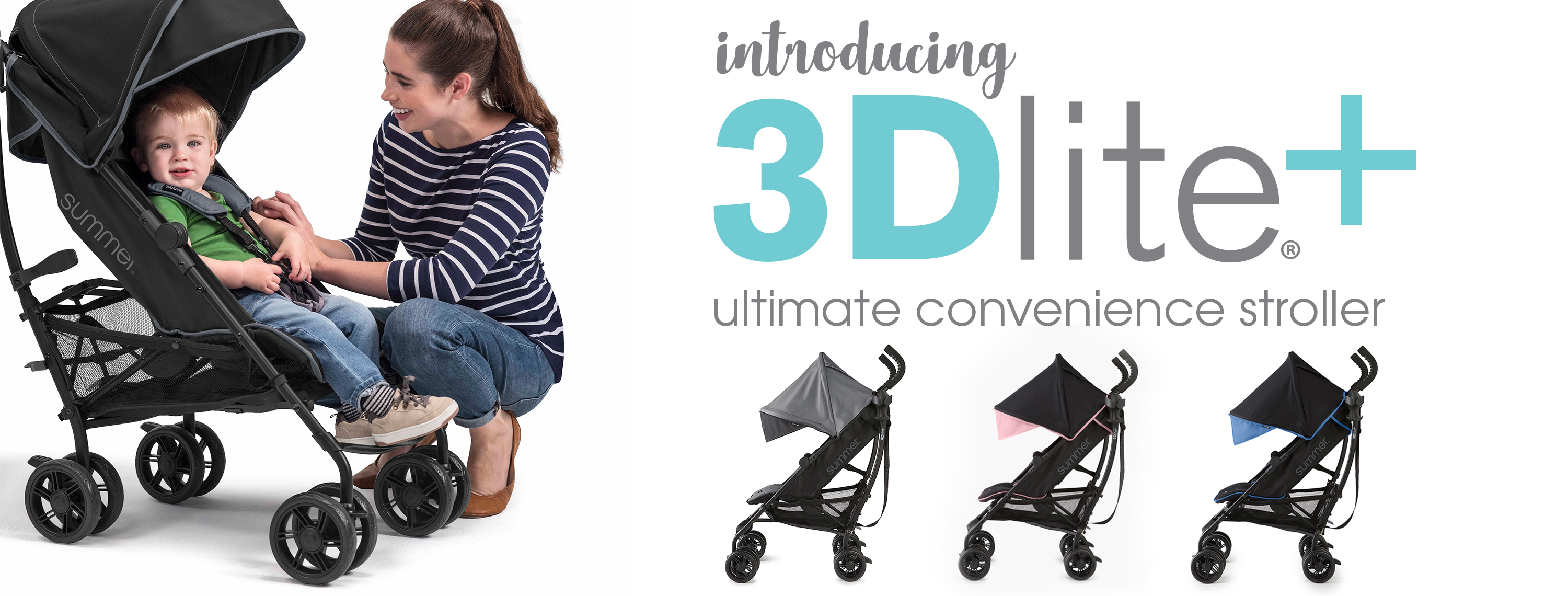 "Mother plays with child in their Summer 3Dlite+ Stroller. Text overlay says ""Introducing 3Dlite+ Ultimate Convenience Stroller."