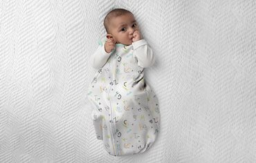 Infant is wearing a sack-style wearable blanket