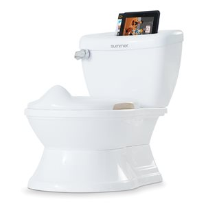White potty training toilet with storage on the toilet tank. Inside of the storage cubby is a tablet.